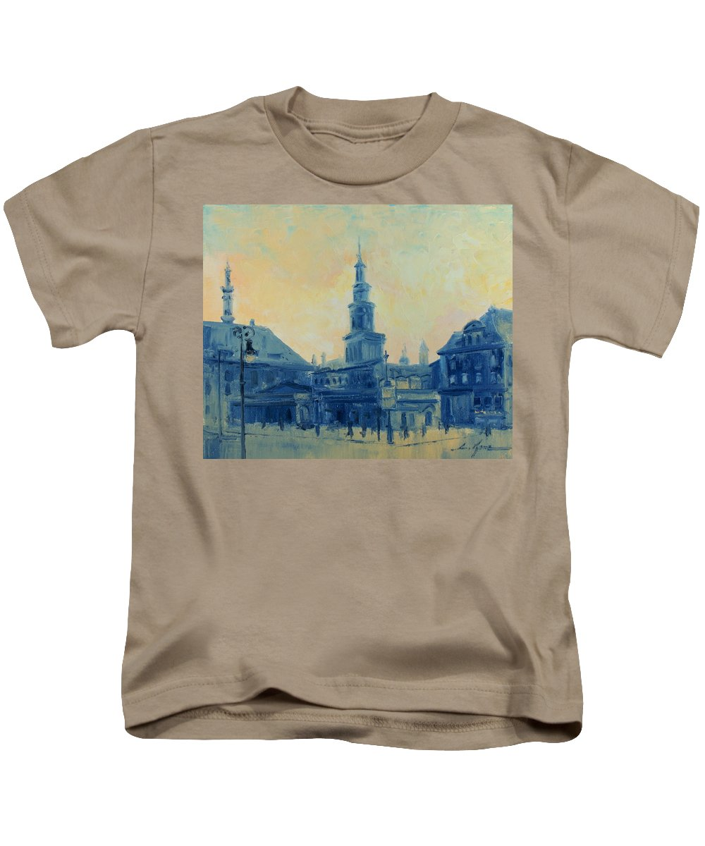 Poznan Kids T-Shirt featuring the painting Old Poznan by Luke Karcz