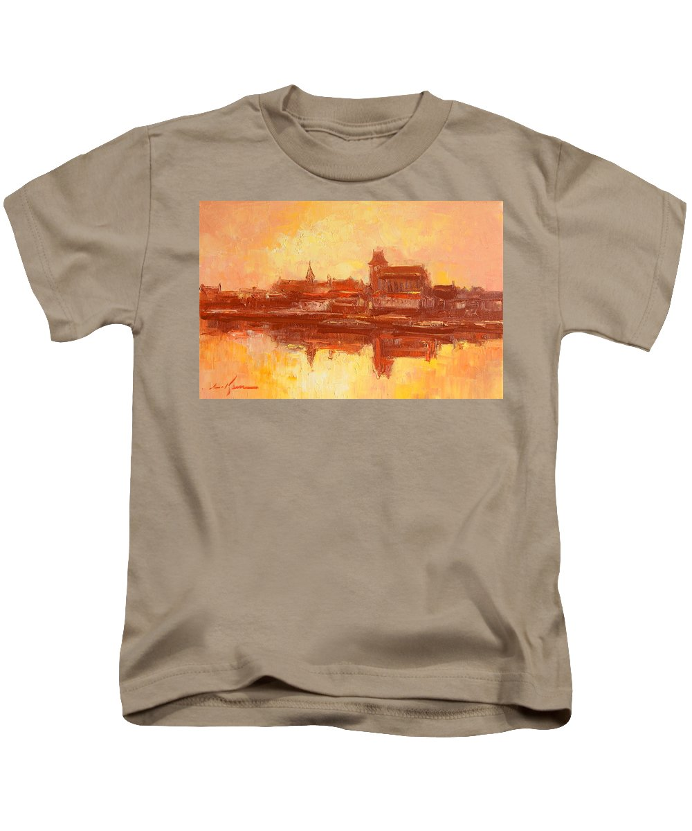 Torun Kids T-Shirt featuring the painting Old Torun by Luke Karcz