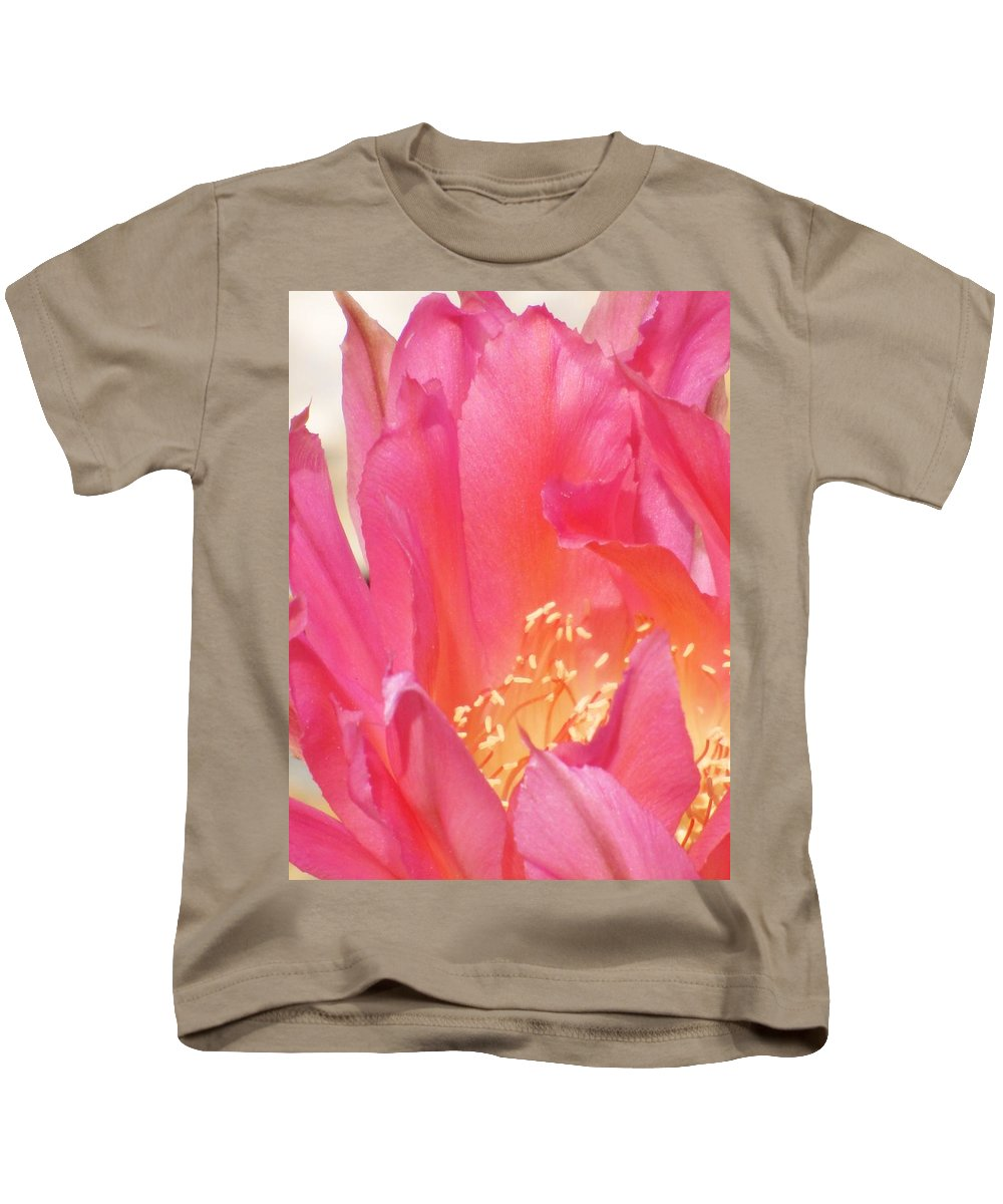 Cactus Flower Kids T-Shirt featuring the photograph Pink Petals by Michelle Cassella
