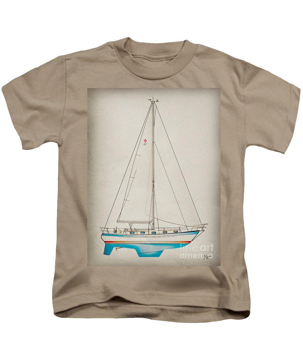 Regina Gallant Kids T-Shirt featuring the drawing Sailboat 42 by Regina Marie Gallant