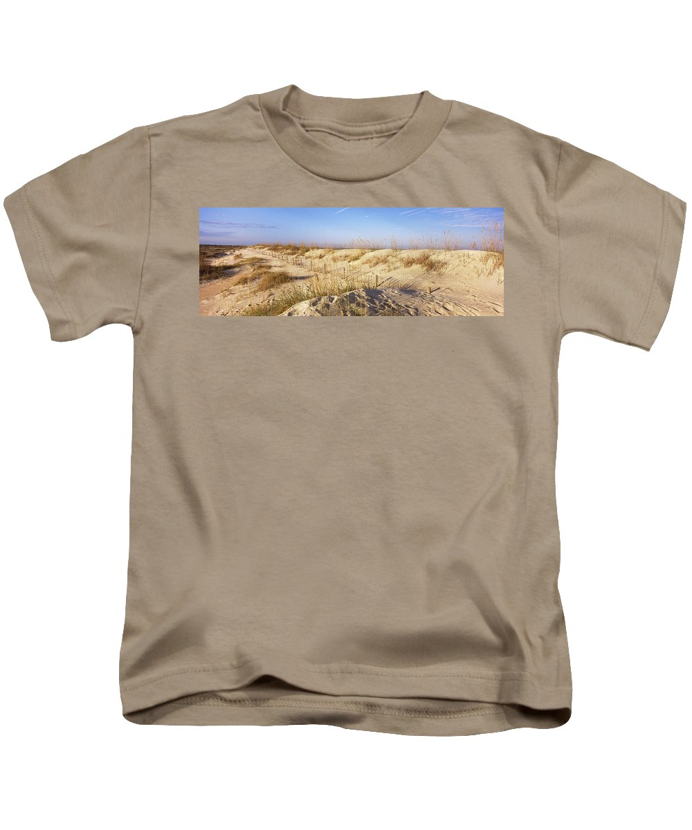 Photography Kids T-Shirt featuring the photograph Sand Dunes On The Beach, Anastasia by Panoramic Images