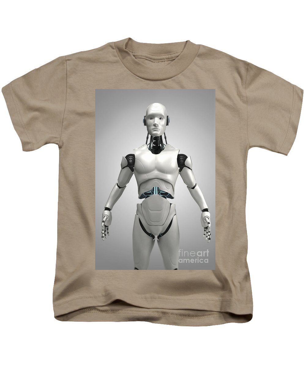 3d Visualisation Kids T-Shirt featuring the photograph Android by Science Picture Co