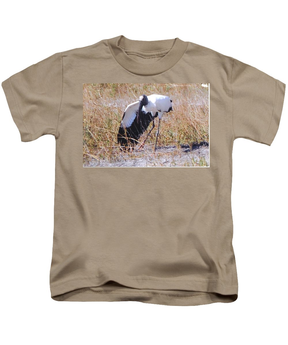 Stretching A Wing Kids T-Shirt featuring the photograph Wood Stork by Robert Floyd