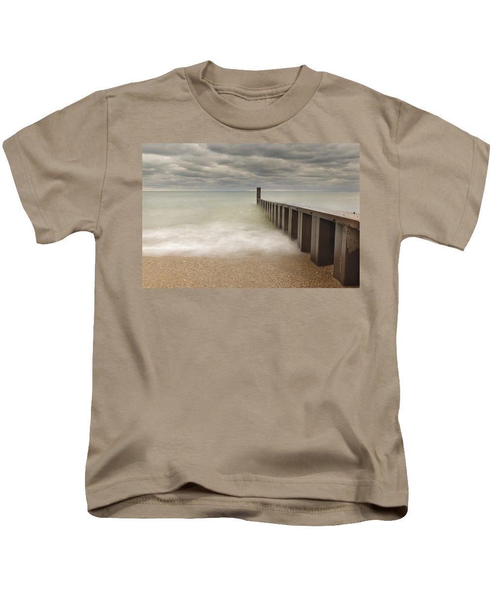 Lake Michigan Kids T-Shirt featuring the photograph Breakwater by Peter Lakomy
