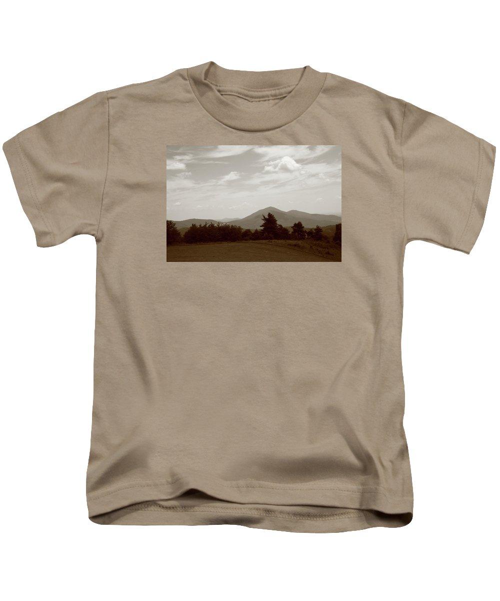 America Kids T-Shirt featuring the photograph Blue Ridge Mountains - Virginia Sepia 10 by Frank Romeo