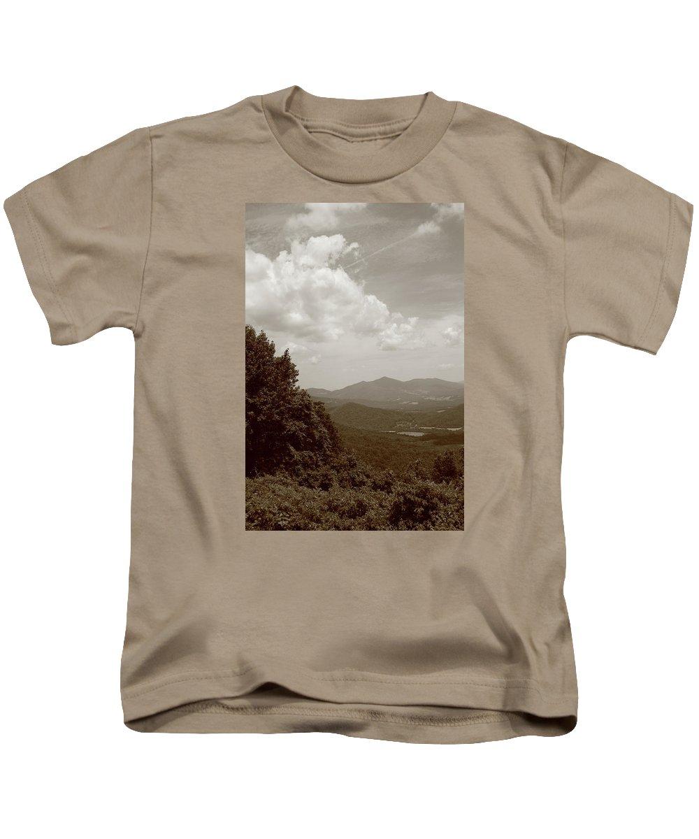America Kids T-Shirt featuring the photograph Blue Ridge Mountains - Virginia Sepia 7 by Frank Romeo