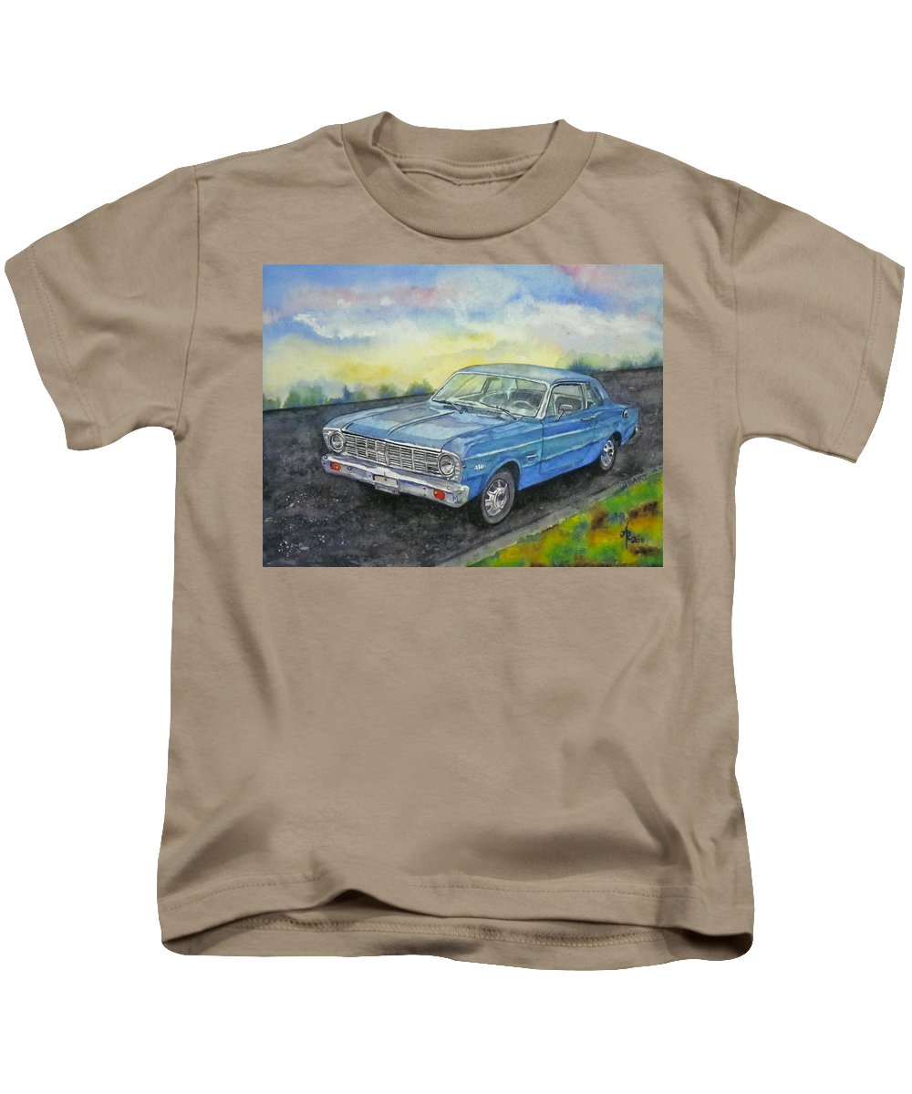 Car Kids T-Shirt featuring the painting 1967 Ford Falcon Futura by Anna Ruzsan