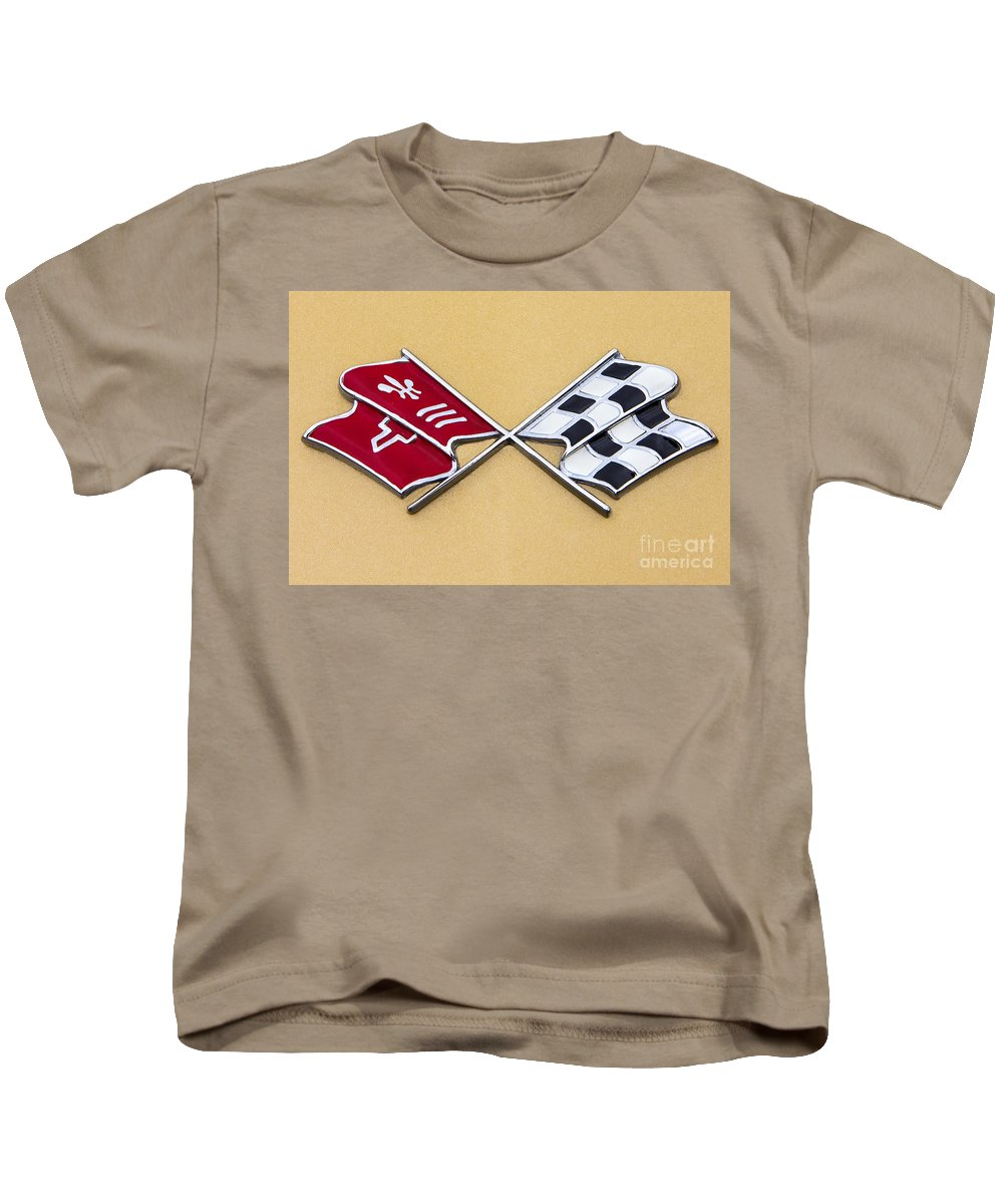 1972 Kids T-Shirt featuring the photograph 1972 Corvette Crossed Flags by Jerry Fornarotto