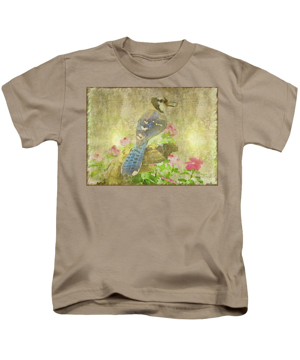 Jay Kids T-Shirt featuring the photograph Blue Jay With Texture by Debbie Portwood