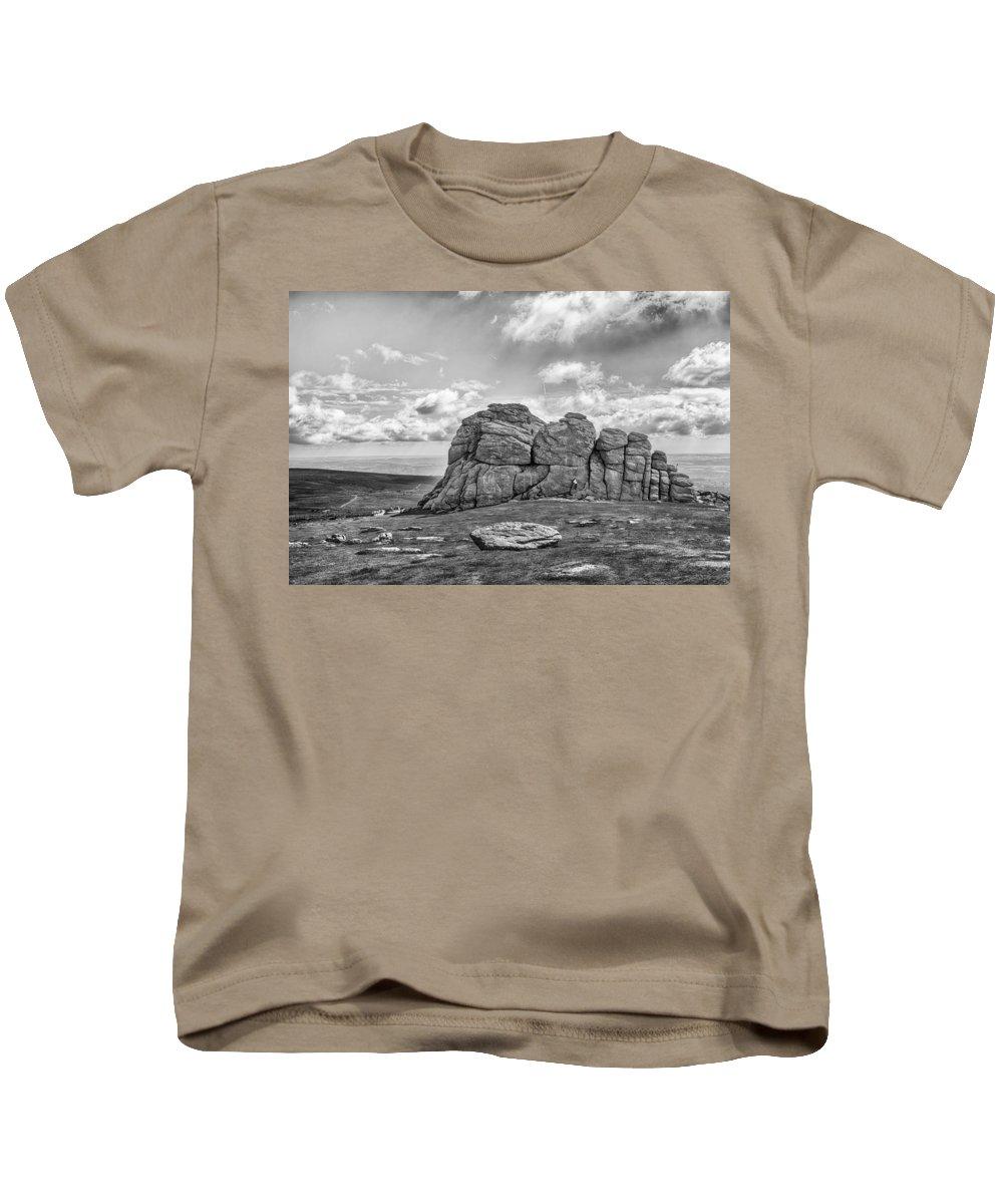 Rock Climbing Kids T-Shirt featuring the photograph Haytor Rock by Howard Salmon