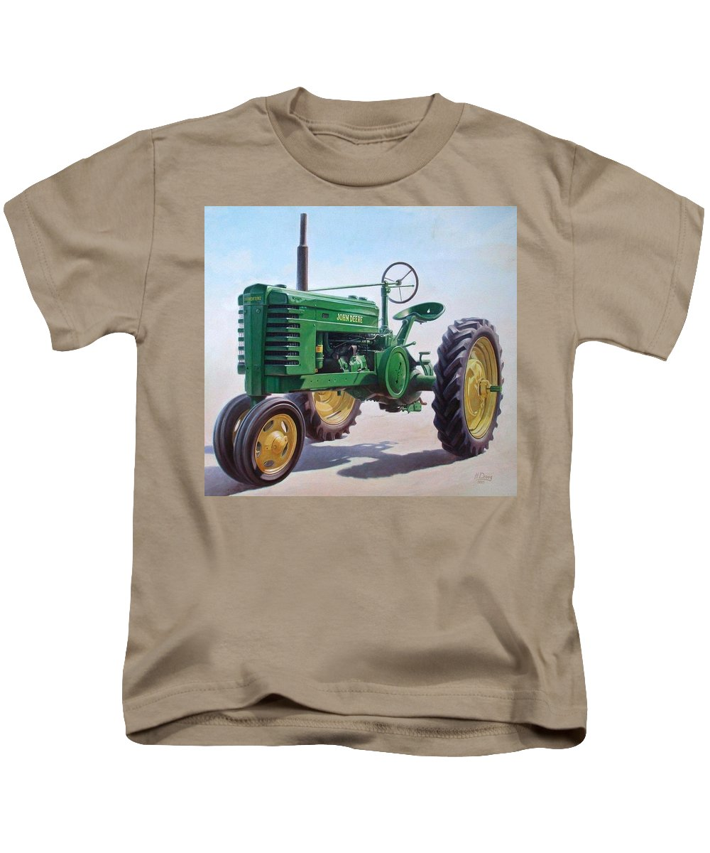 Tractor Kids T-Shirt featuring the painting John Deere Tractor by Hans Droog