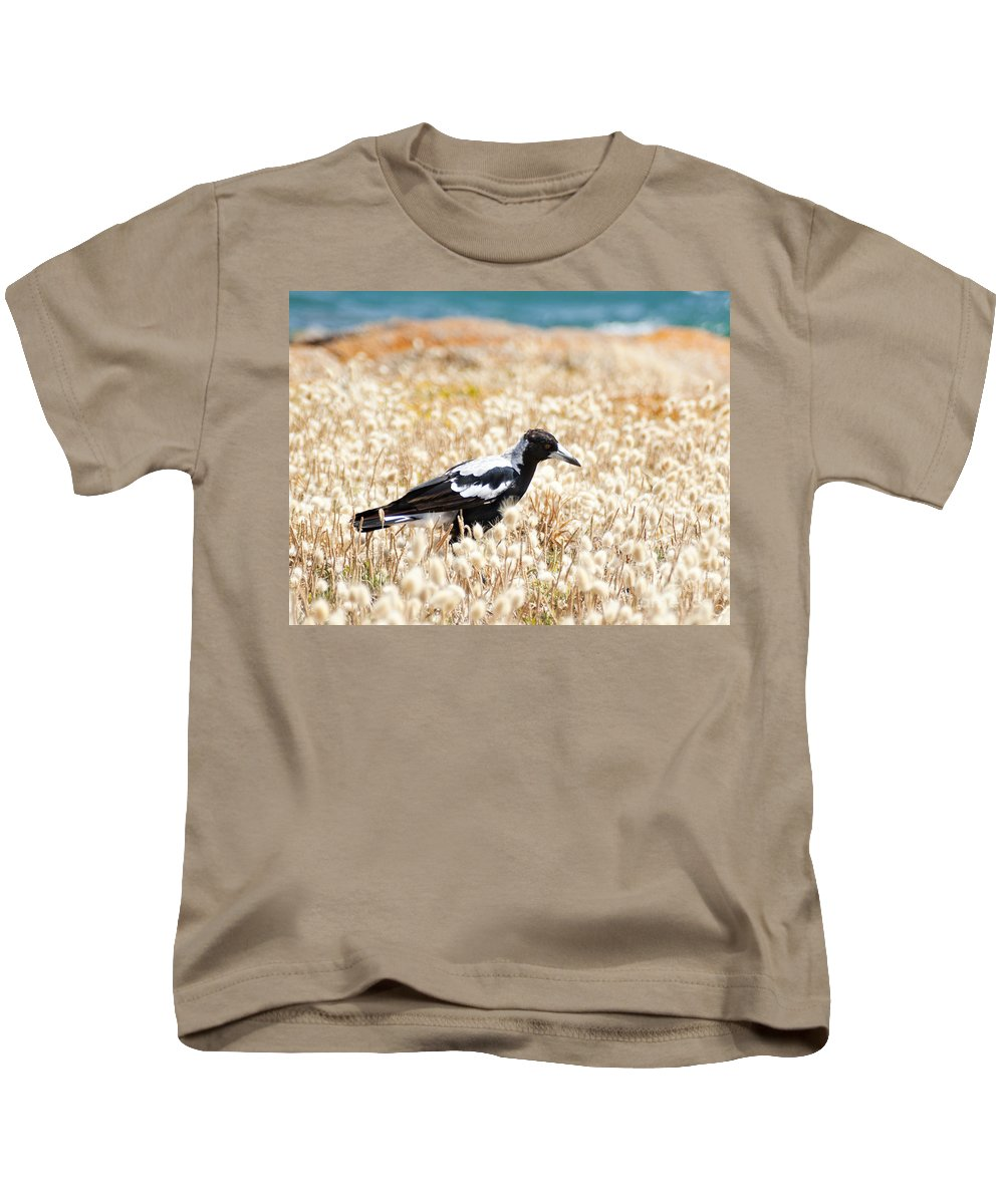 South Australia Kids T-Shirt featuring the photograph Magpie by Tim Hester