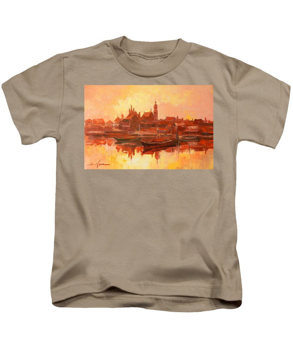 Warsaw Kids T-Shirt featuring the painting Old Warsaw - Wisla River by Luke Karcz