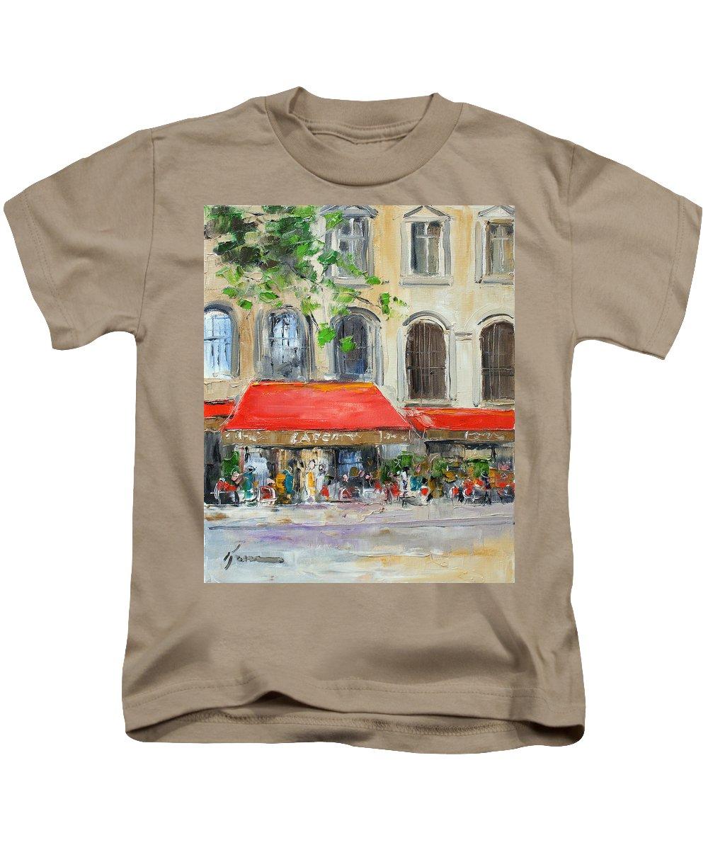 Paris Kids T-Shirt featuring the painting Paris Cafe by Luke Karcz