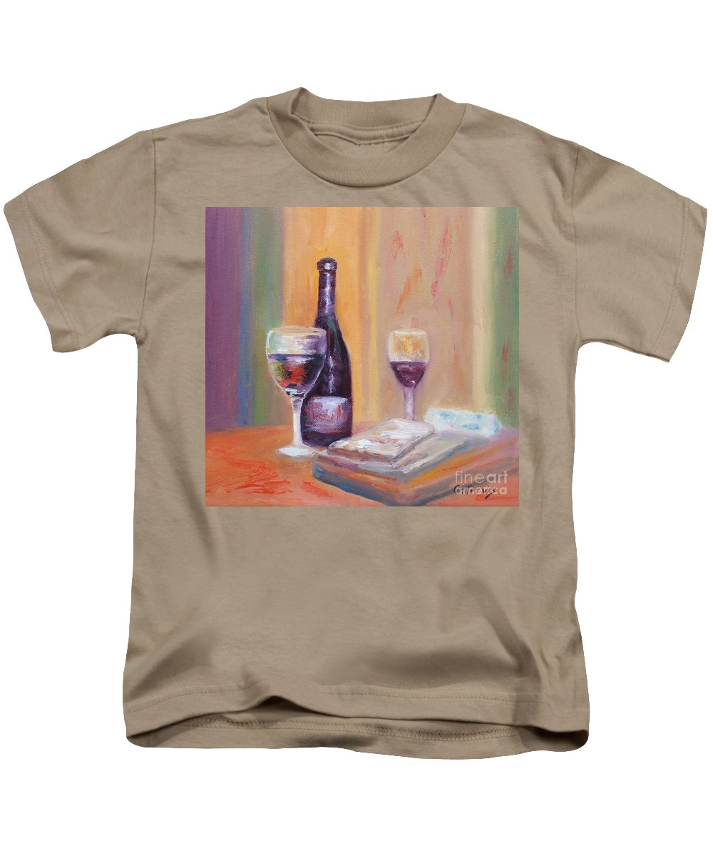 Wine Art Kids T-Shirt featuring the painting Wine And Blue Cheese by Carolyn Jarvis