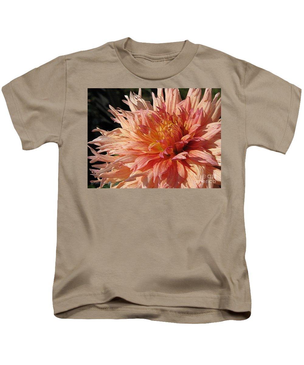 Dahlia Kids T-Shirt featuring the digital art Dahlia Named Intrepid by J McCombie
