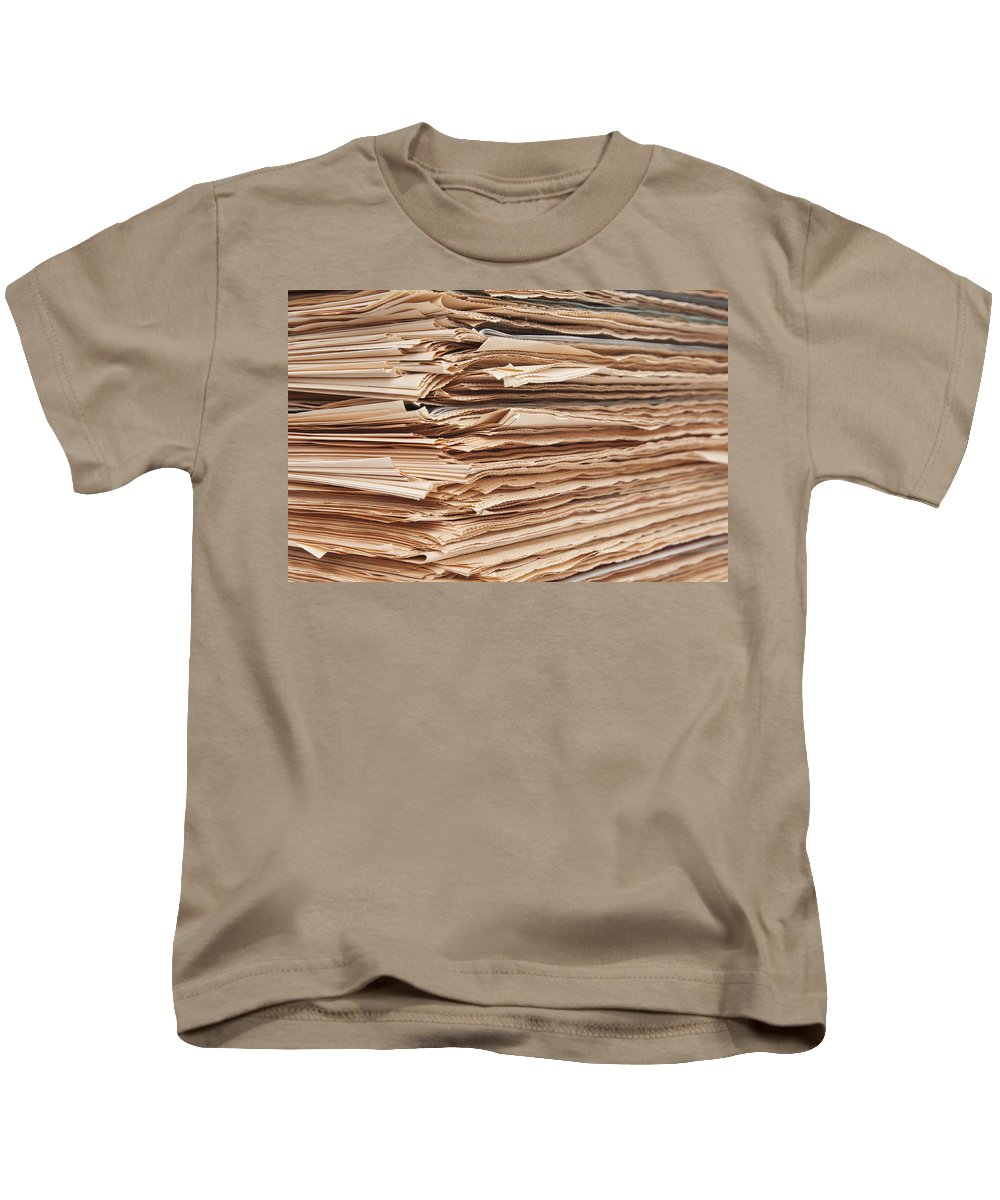 Newspaper Kids T-Shirt featuring the photograph Newspaper Stack by Chevy Fleet