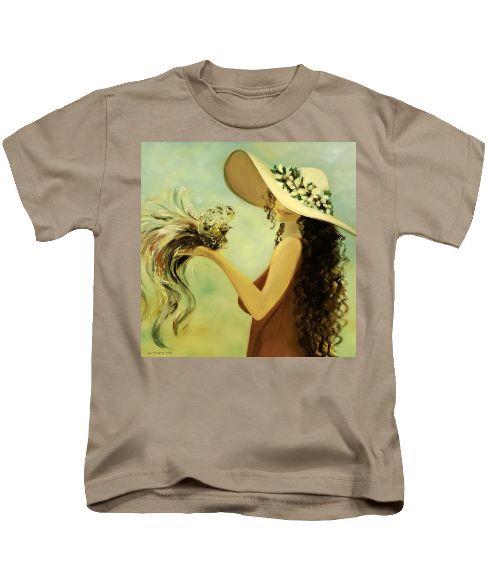Lady With A Bird Kids T-Shirt featuring the painting The Hand That Doesn't Grasp by Gina De Gorna