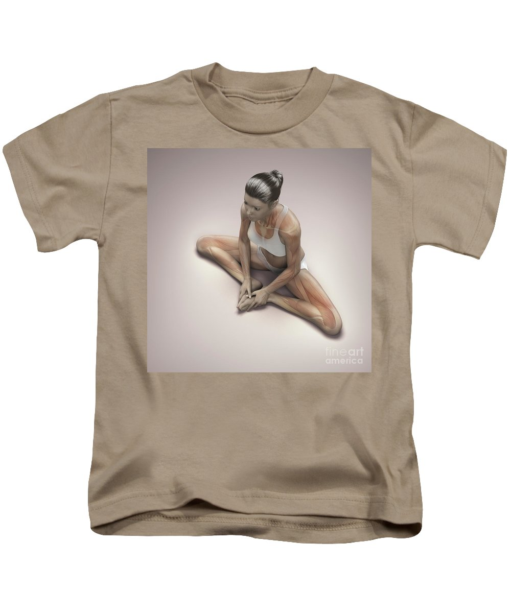 3d Visualisation Kids T-Shirt featuring the photograph Yoga Bound Angle Pose by Science Picture Co