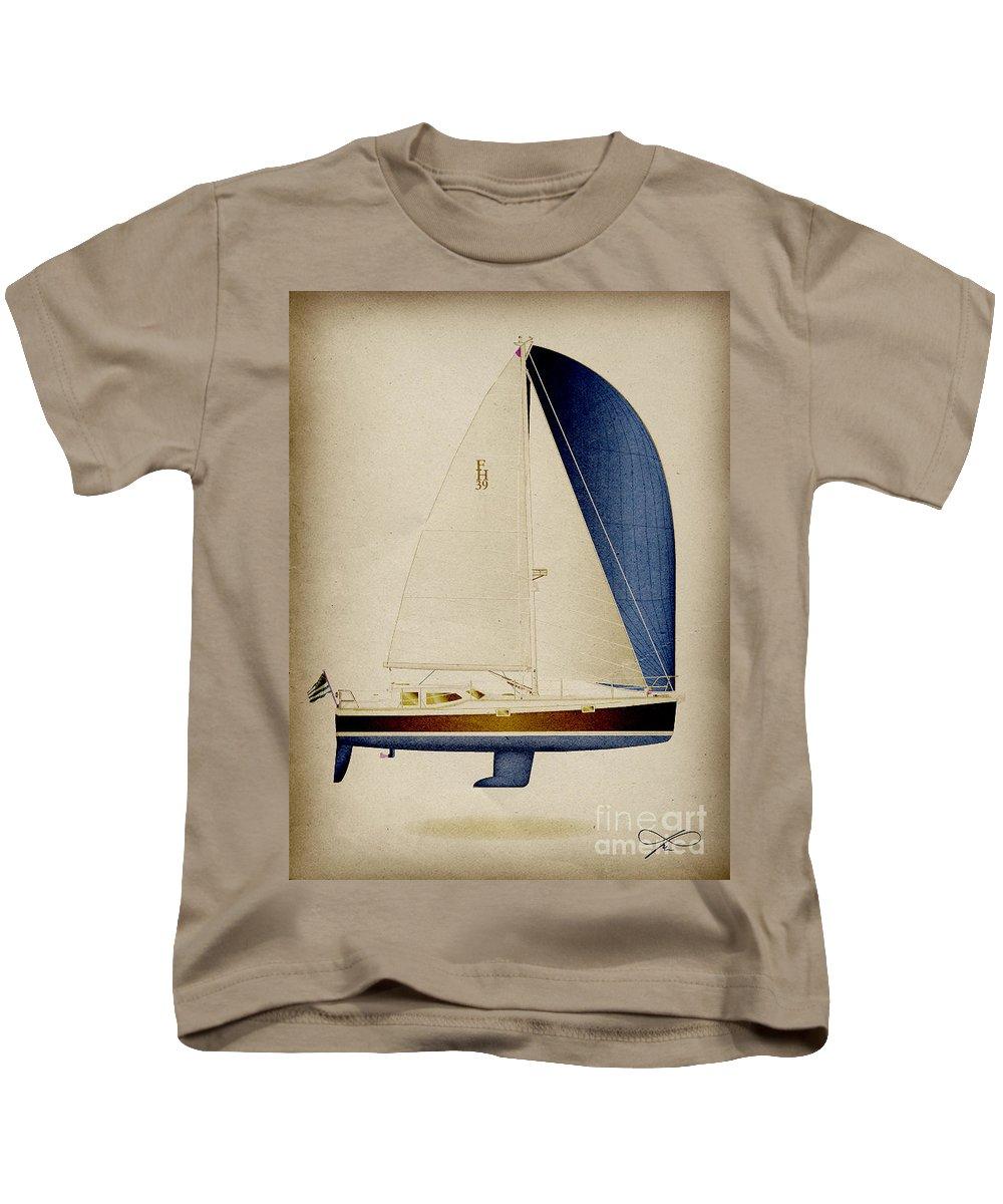 Regina Gallant Kids T-Shirt featuring the drawing 39 Blue Spinnaker by Regina Marie Gallant