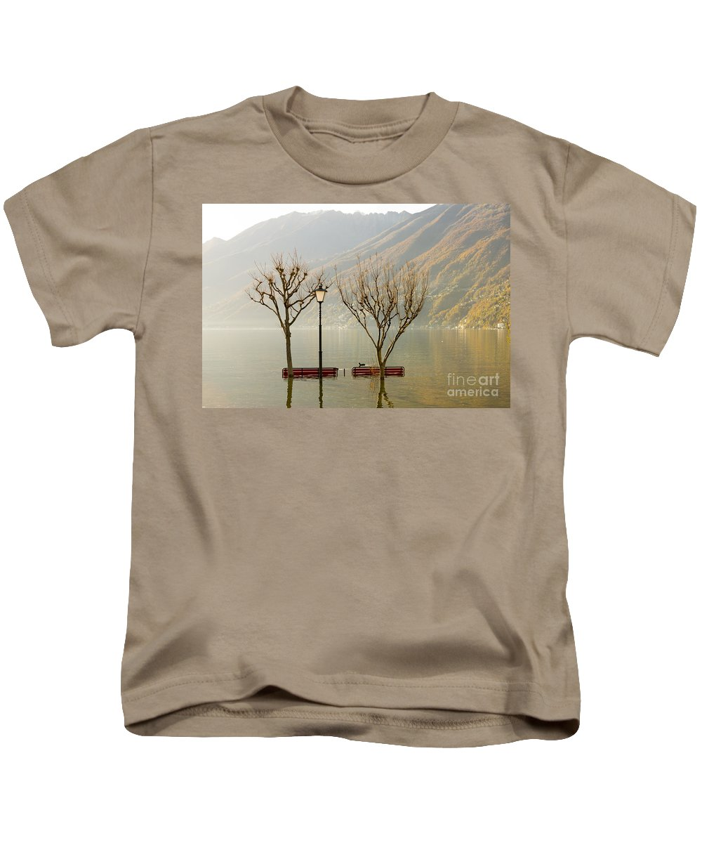 Flooding Kids T-Shirt featuring the photograph Benches And Trees by Mats Silvan