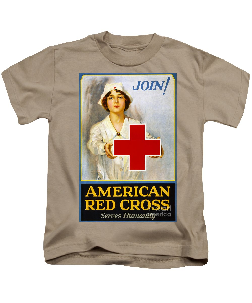 1917 Kids T-Shirt featuring the photograph Red Cross Poster, C1917 by Granger