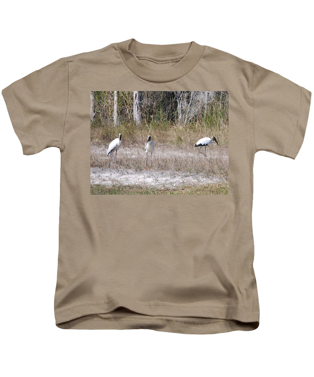 You Guys Keep A Look Out. Kids T-Shirt featuring the photograph Wood Storks by Robert Floyd