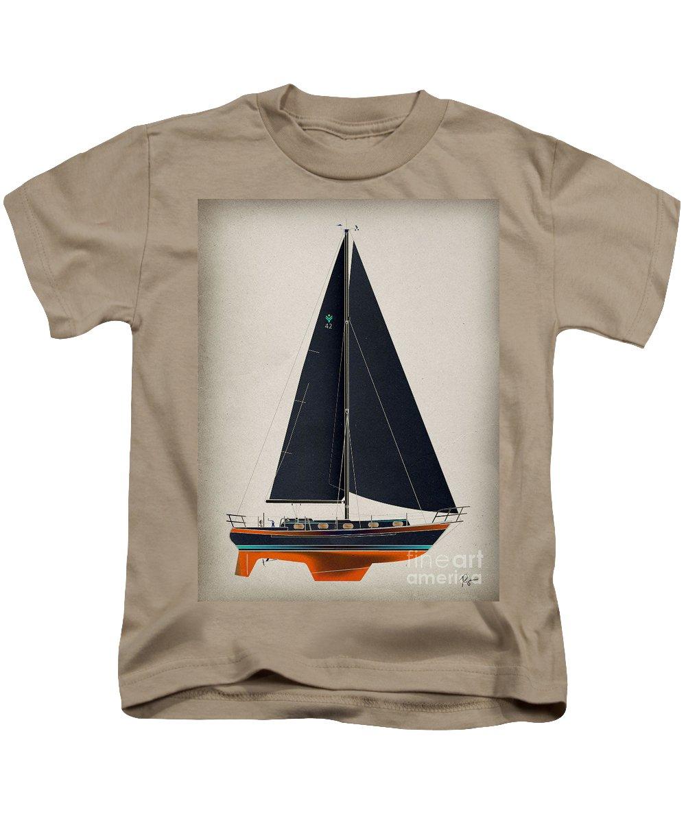 Regina Gallant Kids T-Shirt featuring the drawing 42 Black Sails by Regina Marie Gallant