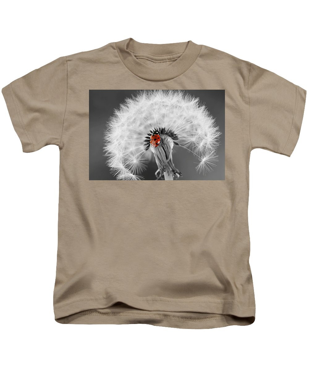 Drops Kids T-Shirt featuring the photograph Ladybug by Heike Hultsch