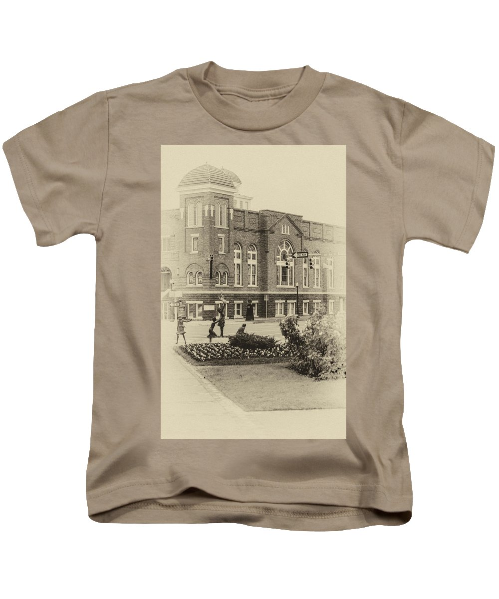 Equaility Kids T-Shirt featuring the photograph 16th Street Baptist Church In Black And White With A White Vingette by Tracy Brock