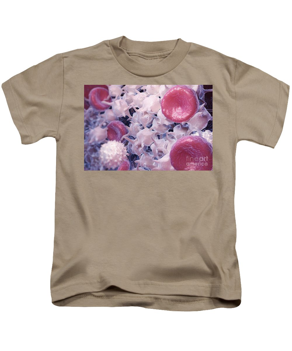 3d Visualisation Kids T-Shirt featuring the photograph Blood Cells by Science Picture Co