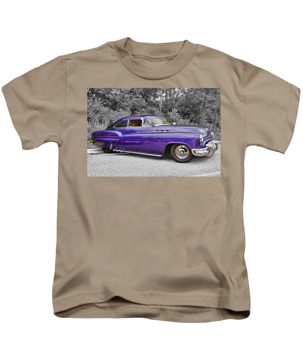 1956 Buick Lead Sled Kids T-Shirt featuring the photograph 56 Buick by Guy Whiteley