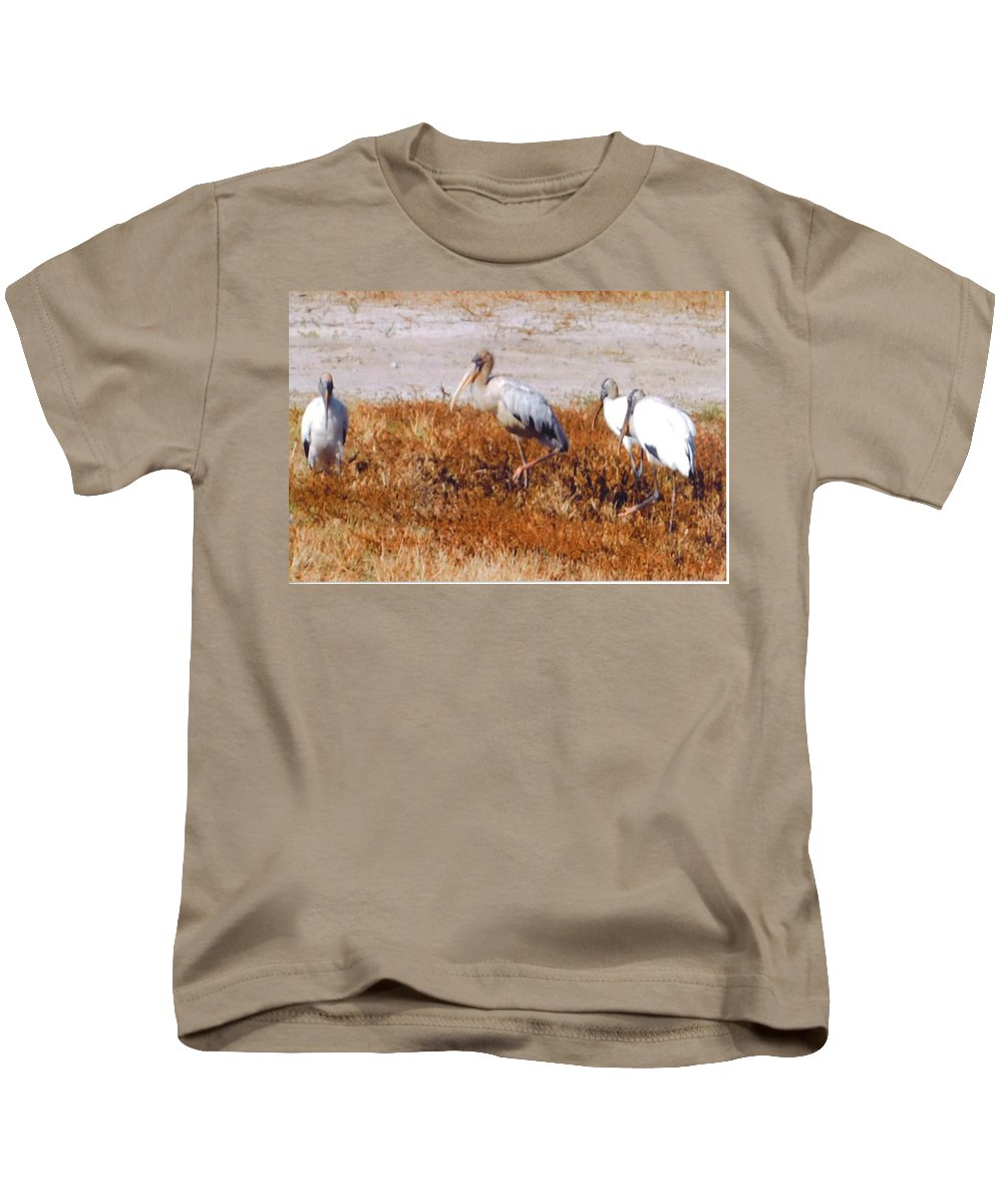 Get In Line Please Kids T-Shirt featuring the photograph Wood Storks by Robert Floyd