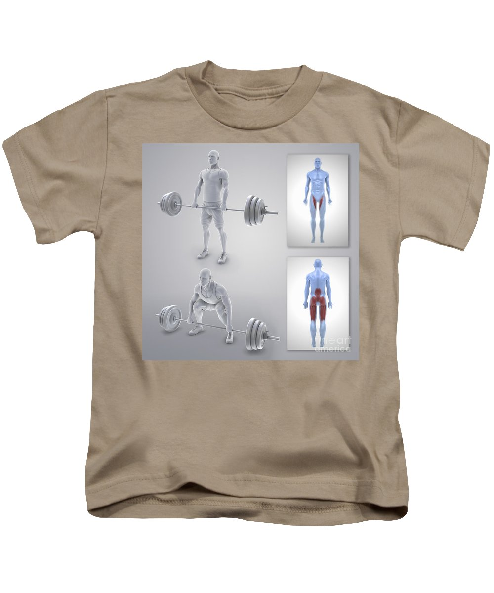 3d Visualisation Kids T-Shirt featuring the photograph Exercise Workout by Science Picture Co