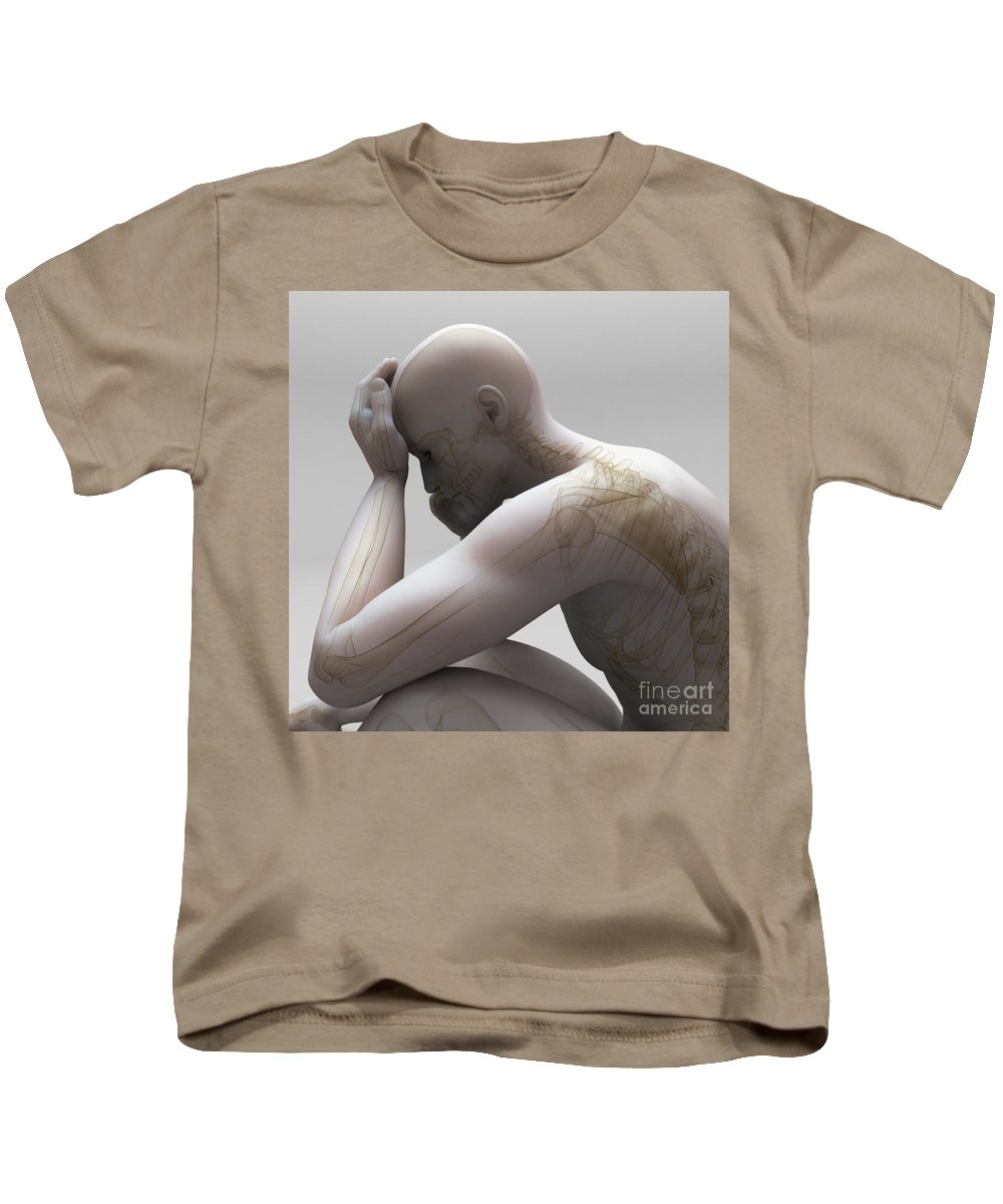 Biomedical Illustration Kids T-Shirt featuring the photograph Depression by Science Picture Co