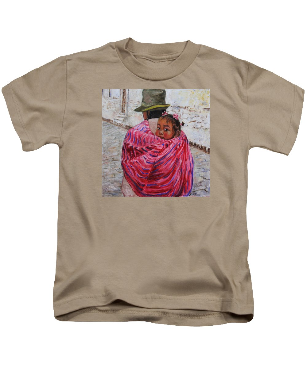 Portrait Kids T-Shirt featuring the painting A Bundle Buggy Swaddle - Peru Impression IIi by Xueling Zou