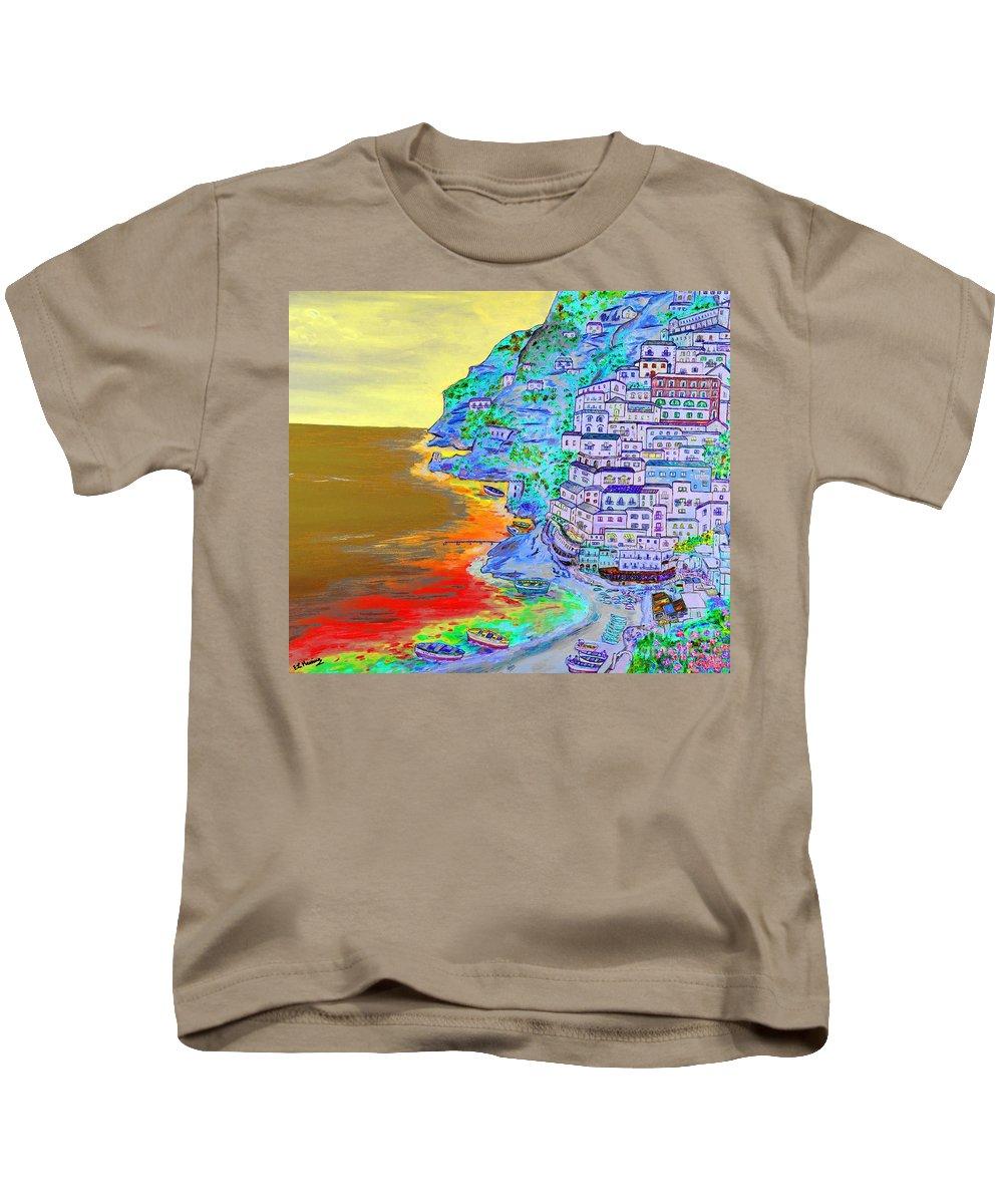 Loredana Messina Kids T-Shirt featuring the painting A Coastal View Of Positano by Loredana Messina