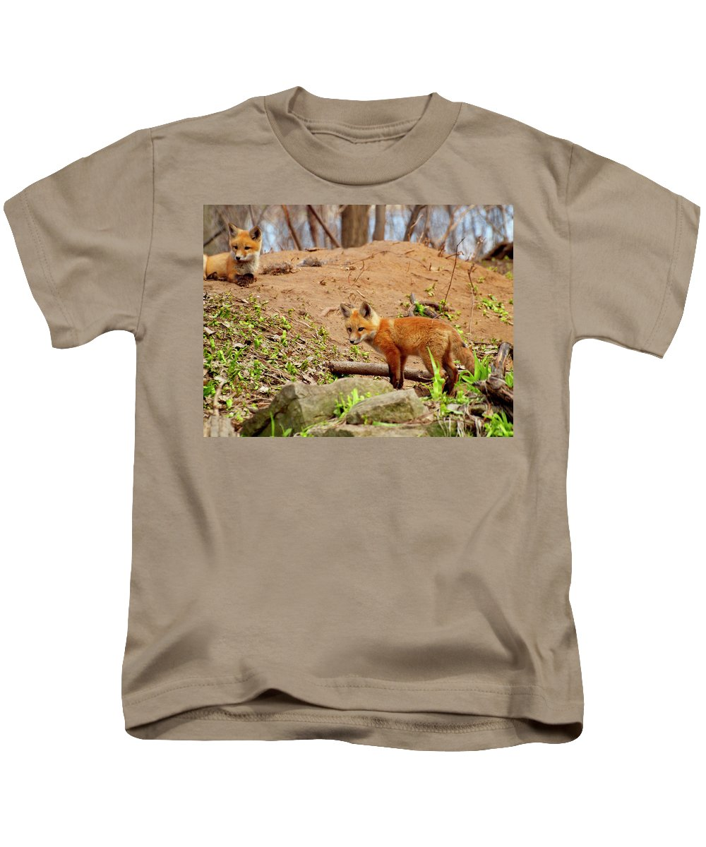 Red Foxes Kids T-Shirt featuring the photograph A Day At The Den by Thomas Young