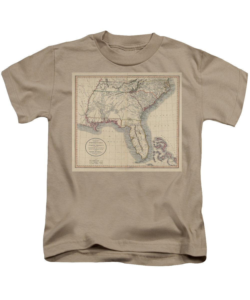 South Atlantic States Kids T-Shirt featuring the drawing A New Map Of Part Of The United States Of North America by Cody Cookston