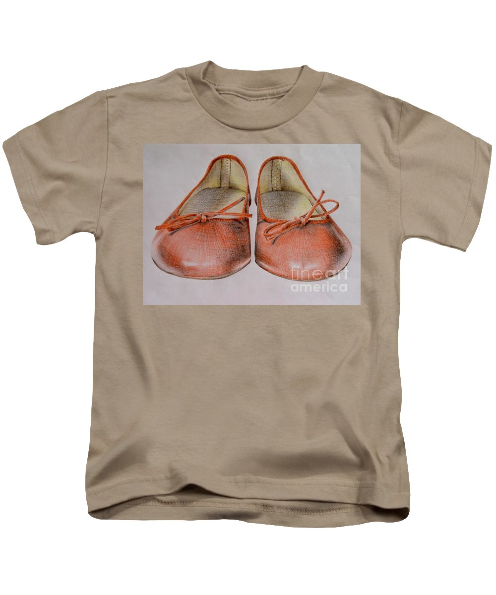 Shoes Kids T-Shirt featuring the drawing A Sunday Walk by Katharina Filus