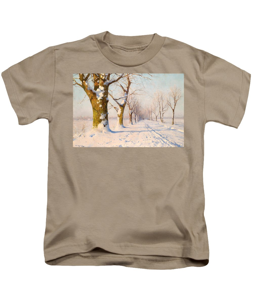 Landscape Kids T-Shirt featuring the painting A Sunny Winter's Day by Mountain Dreams