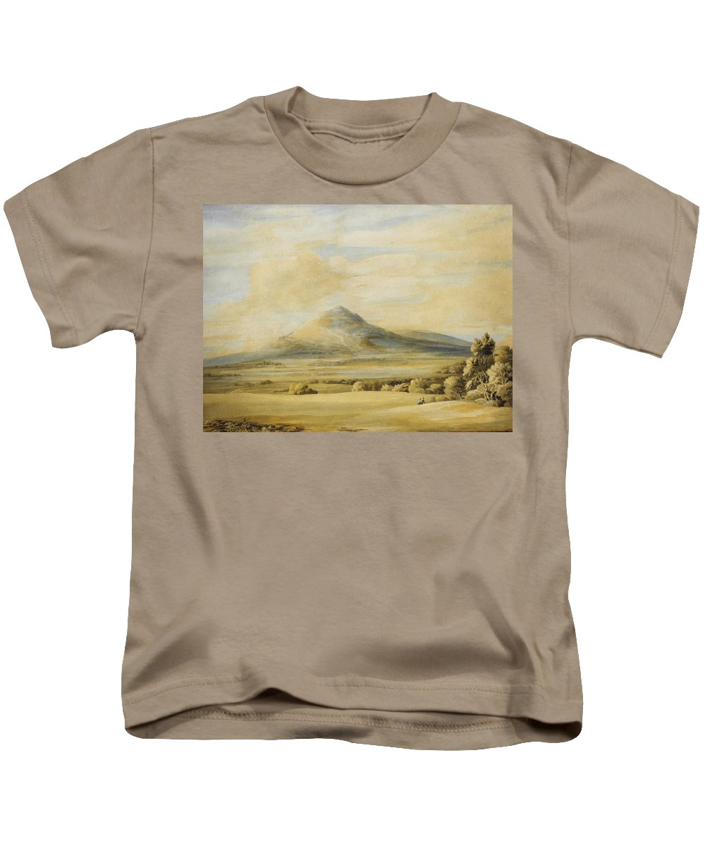 Francis Townea View Of The Wrekin In Shropshire Going From Wenlock To Shrewsbury Kids T-Shirt featuring the painting A View Of The Wrekin In Shropshire Going From Wenlock To Shrewsbury by Celestial Images