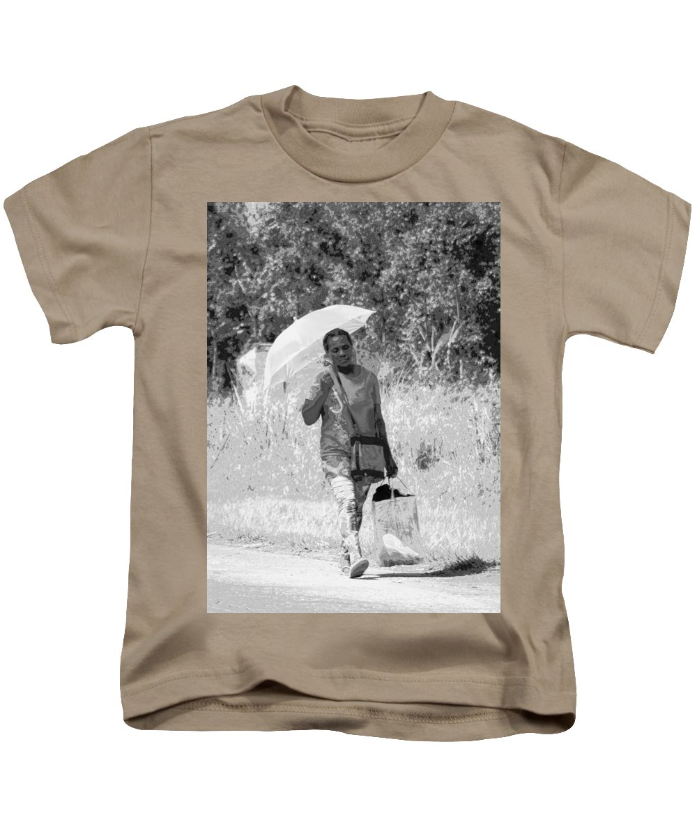 Umbrella Kids T-Shirt featuring the photograph A Walk In The Sun by Clifford Beck