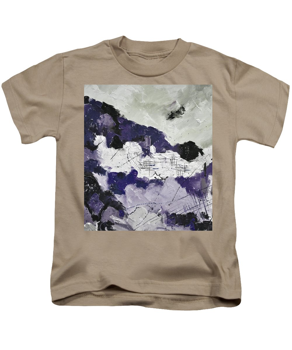 Abstract Kids T-Shirt featuring the painting Abstract 7880 by Pol Ledent