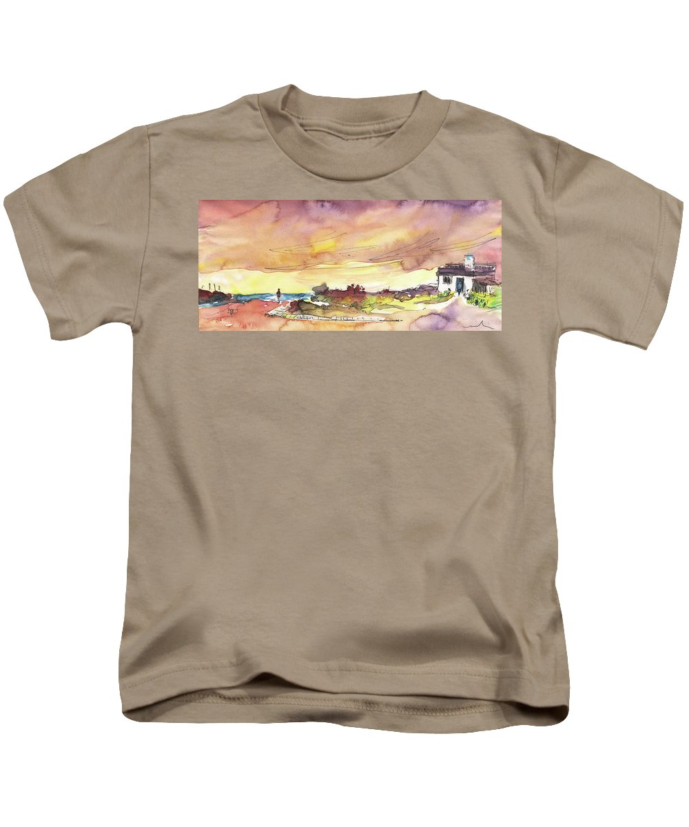 Travel Sketch Kids T-Shirt featuring the painting Albufeira De Valencia 20 by Miki De Goodaboom