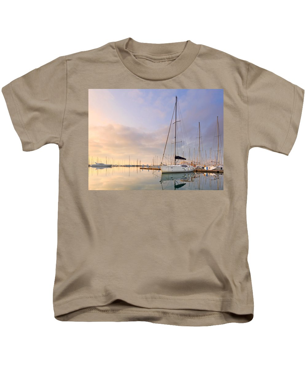 Marina Kids T-Shirt featuring the photograph Alimos Reflections by Milan Gonda