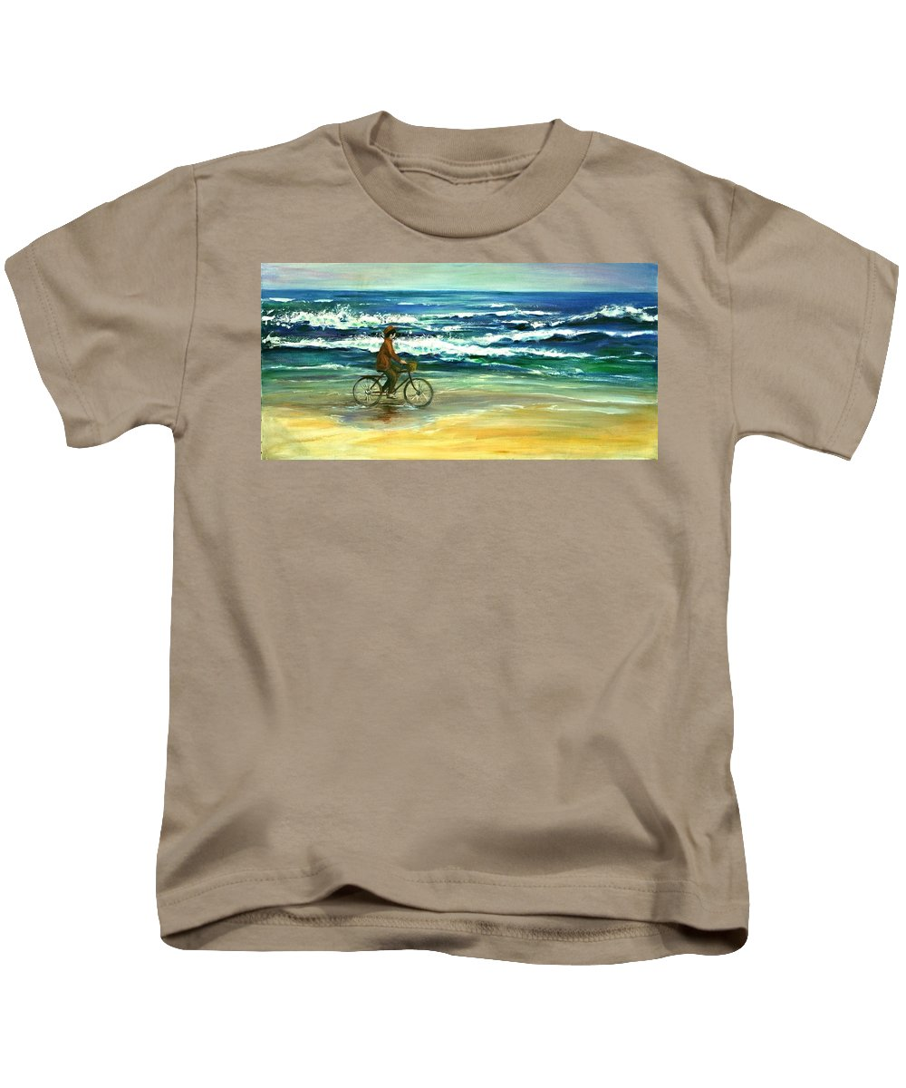 Artwork Kids T-Shirt featuring the painting Along The Surf by Csilla Florida