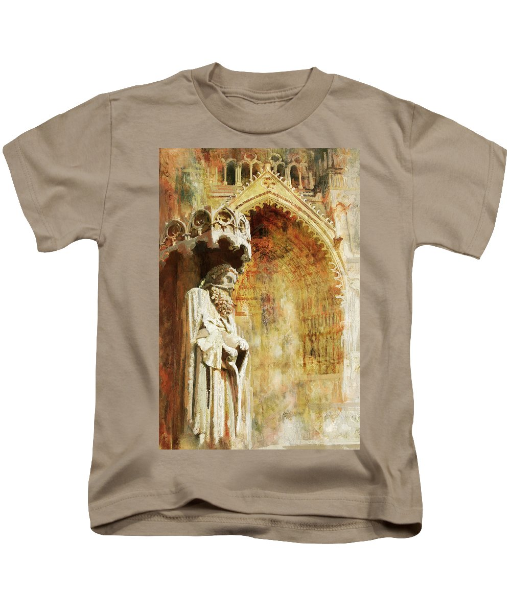 Western Ghats Kids T-Shirt featuring the painting Ameins Cathedral by Catf