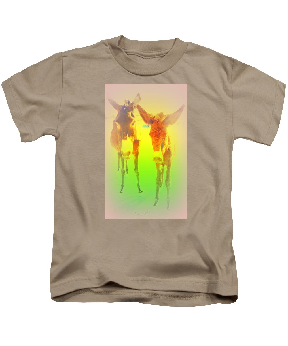 Donkey Kids T-Shirt featuring the photograph Donkey Mother And Son On An Extremely Hot Day by Hilde Widerberg
