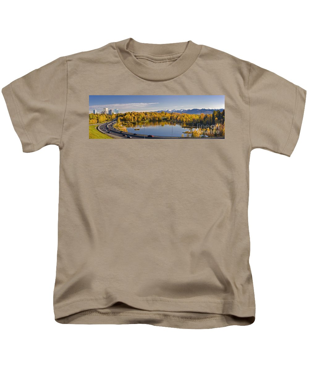 Anchorage Kids T-Shirt featuring the photograph Anchorage And Westchester Pano by Kevin G Smith